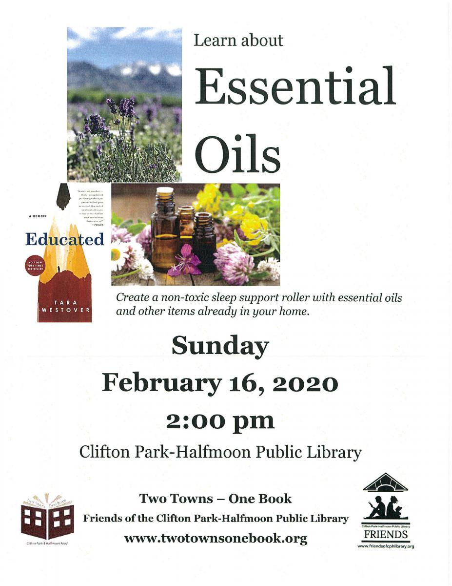 event to learn about essential oils at clifton park halfmoon library