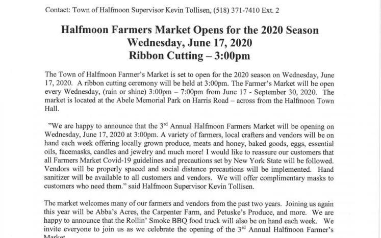 FARMERS MARKET OPENING JUNE 17, 2020