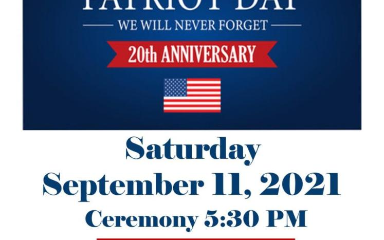 Please join us  for a solemn Ceremony to mark the 20th Anniversary of 9/11